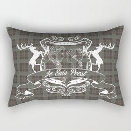 Outlander plaid with Je Suis Prest crest Rectangular Pillow