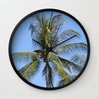 indonesia Wall Clocks featuring Palm (Bali, Indonesia) by Christian Haberäcker - acryl abstract