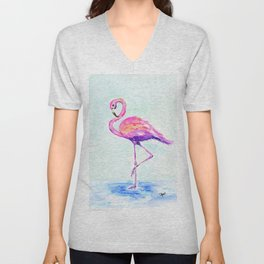 Flamingo Love Unisex V-Neck