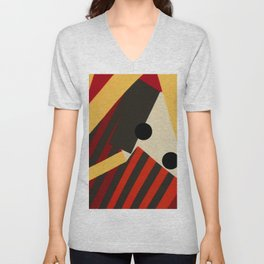 Abstract in Stripes and Dots Unisex V-Neck