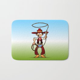 Cowboy with a lasso Bath Mat