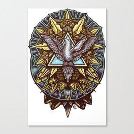 Trinity Merkabah Spirit Dove Mandala Canvas Print