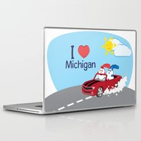 coraline Laptop & iPad Skins featuring Ernest and Coraline | I love Michigan by Hisame Artwork