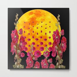 SURREAL HOLLYHOCKS RISING GOLDEN MOON PATTERN Metal Print