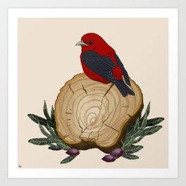 Bird on a Log Art Print