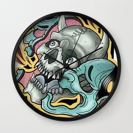 Half Skull Half Hannya by Kevin Thrun Wall Clock
