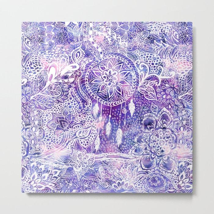 Boho doodles dreamcatcher floral pink purple watercolor Metal Print