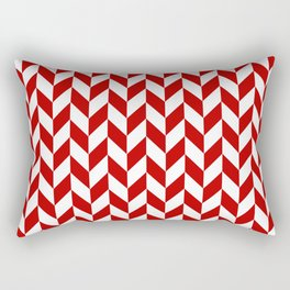 Red and White Herringbone Pattern Rectangular Pillow