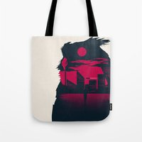 blade runner Tote Bags featuring Blade Runner by Inno Theme