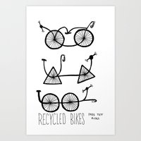 recycled bikes Art Print