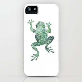 green lichen crawling frog silhouette iPhone Case