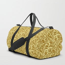 William Morris Thistle Damask in Mustard Gold Duffle Bag