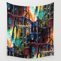 steam punk Wall Tapestries featuring univesal steam mechanism by David  Gough