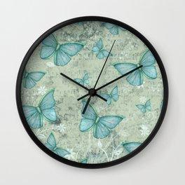 Teal Butterflies Wall Clock