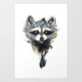 Raccoon stealing seeds! Art Print