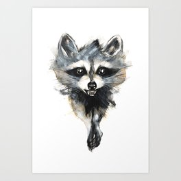 Raccoon stealing seeds! Art Print