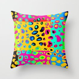 colorpop leopard Throw Pillow