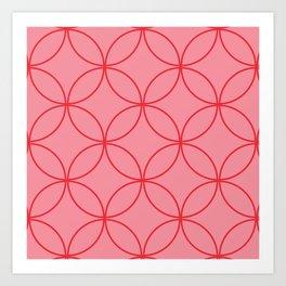 Moorish Circles - Pink & Red Art Print