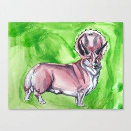 Triceratops Corgi Canvas Print