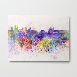 Tallinn skyline in watercolor background Metal Print