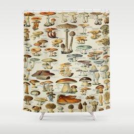 Mushrooms Vintage Scientific Illustration French Language Encyclopedia Lithographs Educational Shower Curtain
