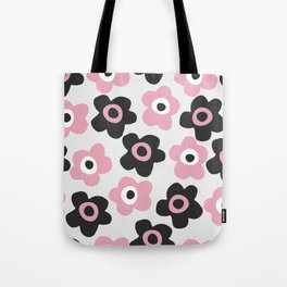 Black and pink flowers Tote Bag