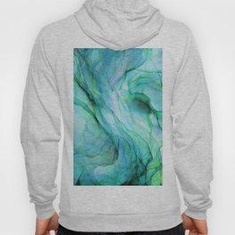 Sea Green Flowing Waves Abstract Ink Painting Hoody