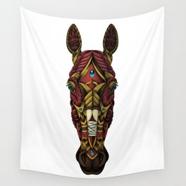 Red Horse Head Wall Tapestry