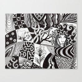 Rhino and a bird Canvas Print