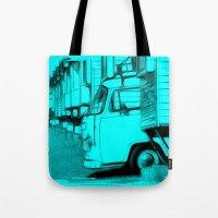 volkswagen Tote Bags featuring Volkswagen Van by Rainer Steinke