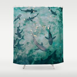 Shoal of Sharks (Color) Shower Curtain