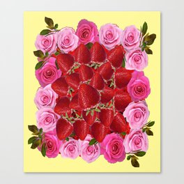 Strawberries  Art Design Pink Roses Yellow Canvas Print