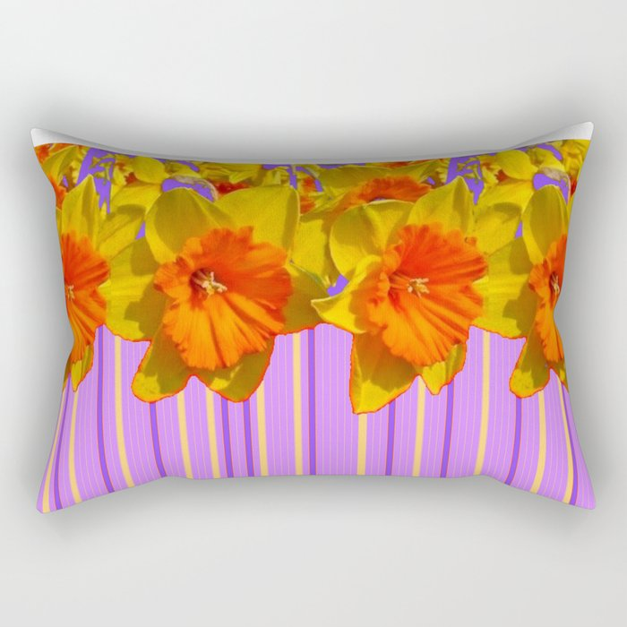 Orange-Yellow Daffodils Lilac Vision Rectangular Pillow