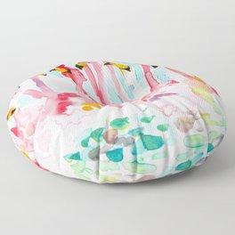 Welcome to Miami - Flamingos Illustration Floor Pillow