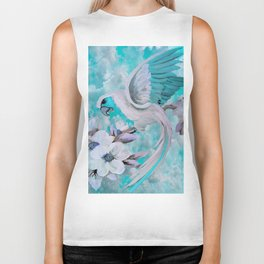 PARROT and MAGNOLIAS Blue And White Biker Tank