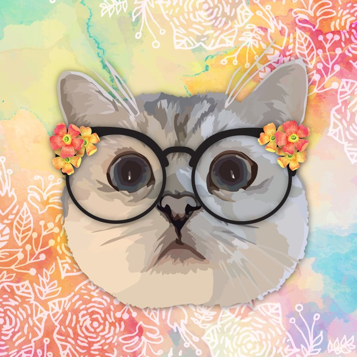 Cat with flower glasses Comforters