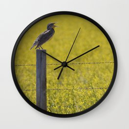 Meadowlark Singing on top of a Fencepost Wall Clock