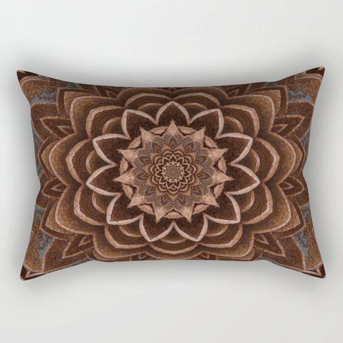 Coffee Shimmer Mandala Rectangular Pillow
