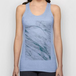 Gray Marble Aqua Teal Metallic Glitter Foil Style Unisex Tank Top