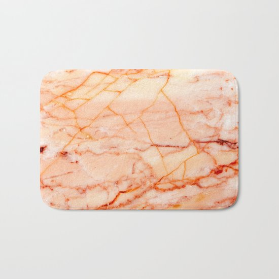 Peach Marble Bath Mat By Patterns And Textures Society6