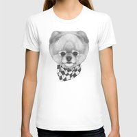 pomeranian T-shirts featuring Hand drawn portrait of  Pomeranian with scarf. by Victoria Novak