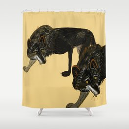 Black wolf totem Shower Curtain
