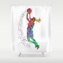 Basketball Girl Player Sports Art Print Shower Curtain