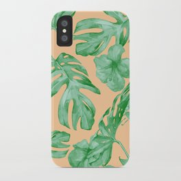 Tropical Monstera Hibiscus Botanical Pattern Green Coral Peach iPhone Case