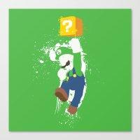 luigi Canvas Prints featuring Luigi Paint by The Daily Robot