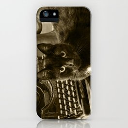 Black cat and vintage typewriter  iPhone Case