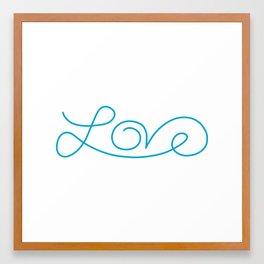 Love calligraphy print - Aqua blue Framed Art Print