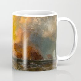 Majestic Golden-Orange Sunset Over the Troubled Atlantic Ocean landscape by Thomas Moran Coffee Mug