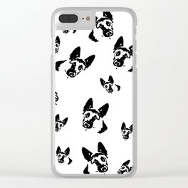 German Shepherd Dog Black White Clear iPhone Case