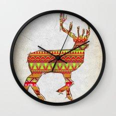 Deer Navajos - christmas pattern Wall Clock